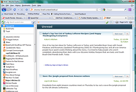 Feed reader tab with Unread full text feeds displayed