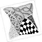 "Zentangle tile with ""Linda"" tangle patterns"